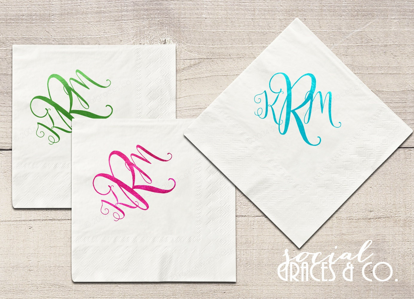 Monogram Script Wedding Cocktail Napkins Personalized Party