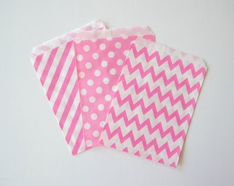 "25PK - Pink 5"" X 7"" Treat Bags // Party Favor // Paper Bag"