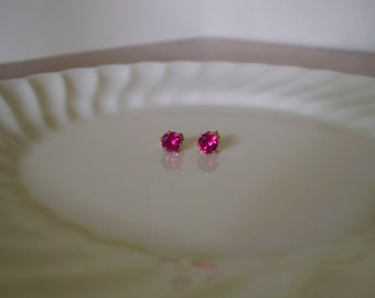 Tiny ruby stud earring in 14Kt gold filled; ruby post earrings; small ruby earrings gold; July birthstone
