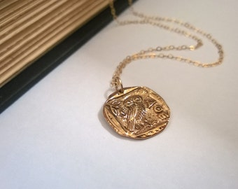 Athena necklace in 14Kt gold filled and natural brass; gold owl necklace; Greek coin replica necklace; warrior goddess necklace