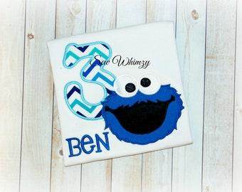 Cookie Monster shirt- Monster Birthday shirt- Boy's Birthday shirt- Birthday Boy shirt- Blue Monster shirt- Monogram birthday shirt- boy