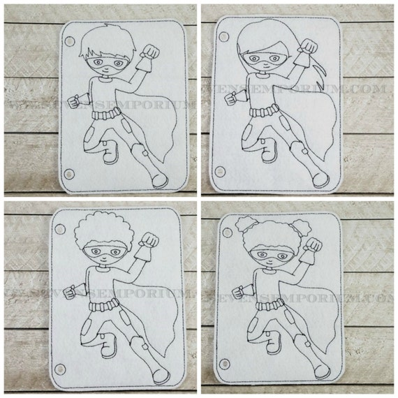 jumping superhero set in the hoop doodle it coloring page machine embroidery design from sevensemporium on etsy studio