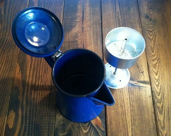 Vintage Blue Enamelware Coffee Pot
