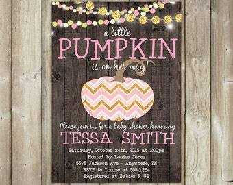 LITTLE PUMPKIN BABY Shower Invitation - Fall Baby Shower Invite - Autumn Baby Shower - Gender Neutral - String Lights - Wood Rustic