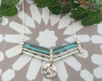 Seafoam chevron necklace - Silver plated necklace with beaded chevron and hammered coin