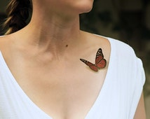 Red Butterfly temporary tattoo - Ink, 3D Tattoo, Realistic, Vintage, Colourful, Tattoo, Woodland, Accessories - NO. M01