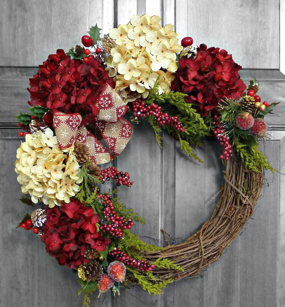Christmas Wreath Front Door Wreaths Holiday By Refinedwreath