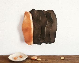 3D tile, ceramic wall art, ceramic leaf,  home decor, ceramic tile, ceramic sculpture, wall sculpture, golden leaf, ready to hang