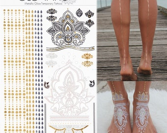 GLO TATTS® Legs Eleven Metallic Tattoo Pack - glow in the dark gold flash tattoos