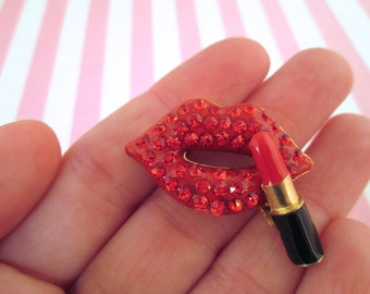 One Red Rhinestone Lip Cabochons Metal and Enamel, #942