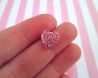 3 Pink Metal Heart Slide Beads with Rhinestones, #947