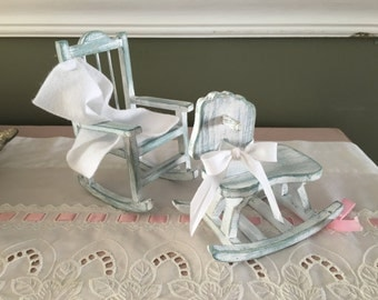 Beachy Hand Painted and Aged Wooden Miniature Rocking Horse and Rocking Chair Set, Baby Nursery, Grandmother Gift, Baby Shower Gift