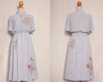 blue Japanese floral vintage dress,japanese blue polka dot floral dress,oriental floral dress, japanese tea dress,japanese sundress