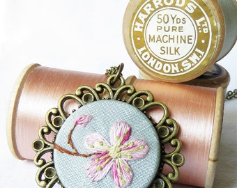 Hand embroidery cherry blossom necklace pink with blue silk. Thread painting art embroidery.