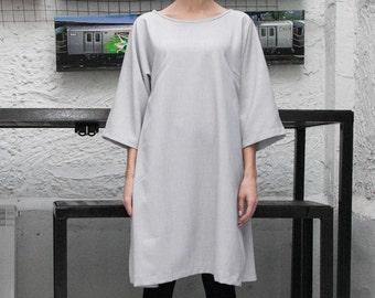 Womens Grey Dress, Boat Neck Dress, Crop Sleeve Midi Dress Tunic