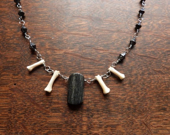 Pheasant Bone And Black Jasper Beaded Chain Necklace