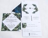 Tropical Wedding Invitation, Wedding Invitation Tropical, Beach Wedding Invitation, Palm Wedding Invitation, Banana Leaf Wedding Invite,