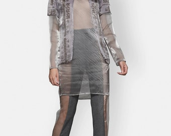 Printed Sheer Blouse Organza Digital Print Grey Symbols