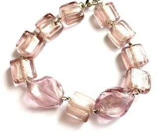 Pink Venetian Glass Bracelet, Czech Glass Bracelet, Pink Bohemian Bracelet, Rose Czech Glass Bracelet, Venetian Jewelry