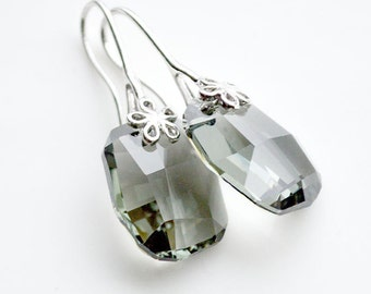 Black Diamond Swarovski Earrings, Grey Swarovski Earrings, Graphic Swarovski Earrings, Swarovski Jewelry