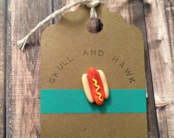 Hot Dog Lapel Pin / Tie Tack - Resin - On a Bun with Mustard