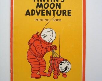 Rare Tintin's Moon Adventure Painting Book 1972