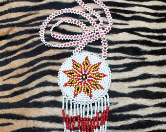 Vintage Native American, Seed Beaded Medallion/ Pendant Necklace
