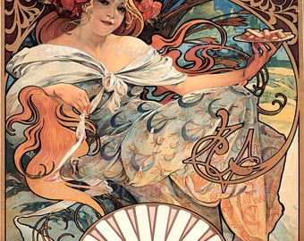 "Alphonse Mucha ""Biscuits Lefevre"" 1896 Reproduction Digital Print  Art Nouveau Advertisment"