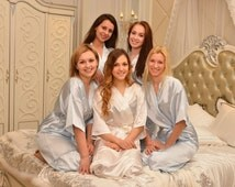 CS1 satin bride robe personalized bridesmaids robe destination wedding gift wedding ketubah Embroidered robe NOT silk kimono dressing gown