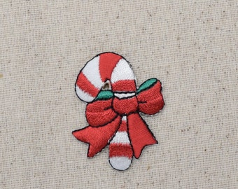 Christmas - Candy Cane - Red Bow - Iron on Applique - Embroidered Patch - 632425