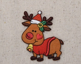 Christmas Reindeer - Santa Hat - Bells - Holly - Iron on Applique - Embroidered Patch - 1512128A
