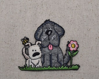 Two puppy dogs with Flower - Iron on Applique - Embroidered Patch - 695905B