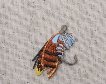 Fishing Fly - Lure - Bait - Iron on Applique - Embroidered Patch - 695726A