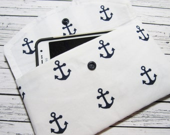 Anchors Smartphone Clutch Wallet, iPhone Wallet Clutch, Women's Fabric Clutch Wallet, Cell Phone Clutch, Phone Case, Cell Phone Holder