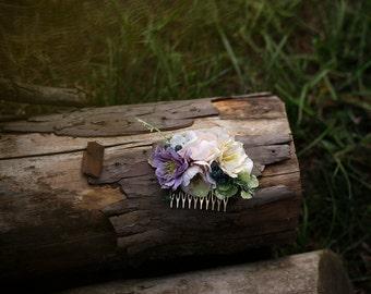 Flower Hair comb floral pink cream fairy hair flowers wedding comb bridal hair fashion accessories barn wedding woodland style