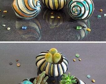ceramic planter pot, ceramic shell, succulent planter pot, sea shell planter, coastal decor, hermit crab shell, raku pottery shell
