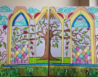 Stained Glass Tree, Diptych Painting