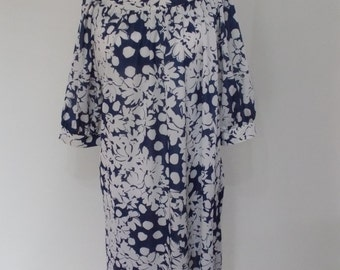 Vintage dress 70s by Fashion Extra navy blue white floral dress size extra large XXL