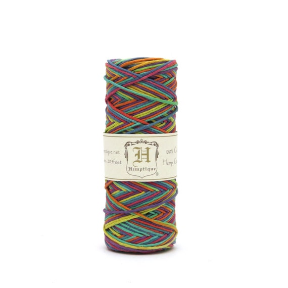 Hemptique Rainbow Hemp Cord Twine 62.5m