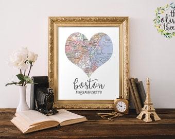 Heart Map print, printable map wall art decor, INSTANT DOWNLOAD - Boston, Massachusetts