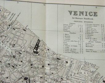 1892 Venice Italy Antique Map