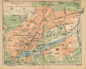 1927 Fontainebleau France Antique Map