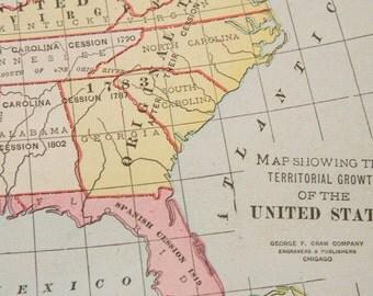 1919 United States Antique Map