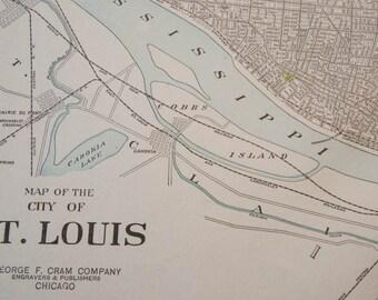 1919 St Louis Missouri Antique Map