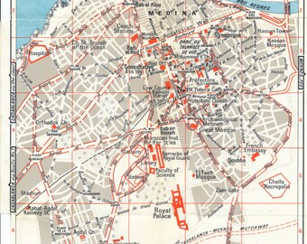 1966 Rabat Morocco Vintage Map