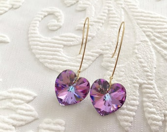 Large Crystal Heart Earrings, Swarovski Elements, Long  14K Gold filled earwires, Vitrail Light Crystal, thehappylittlebeader