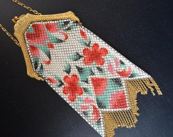 Mandalian Bag Enamel Painted Mesh Floral Purse Gold Embossed Frame Art Deco Handbag Flapper Fashion