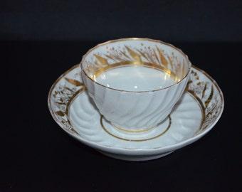 Worcester Tea Bowl & Saucer 1700s Flight Barr Period English Porcelain