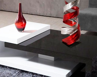"Abstract Metal Art Decor Freestanding Indoor Outdoor Table Sculpture - Red ""Enigma"" by Dustin Miller"