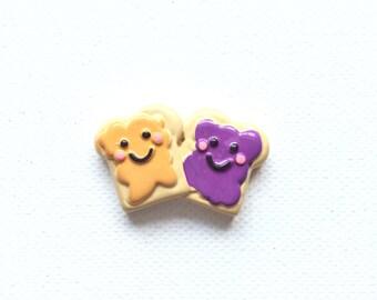 Peanut Butter and Jelly Pin, Tie Tack, Best Friend Pin, BFF, PB & J Pin, Hat Pin